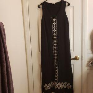 J. Jill Boho Hippie Maxi Dress Black Size Small